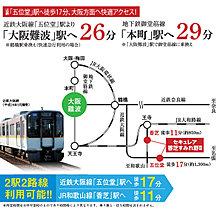 近鉄五位堂駅から大阪難波駅へ26分の快適アクセス