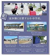 ●良市立登美ヶ丘小学校。歩行者専用通路も整備されています。