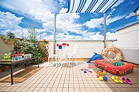スカイテラスで日光浴&プール遊びの1例です。