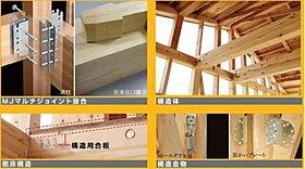 従来の木造軸組みに構造金物を組み合わせることで耐震性能を強化