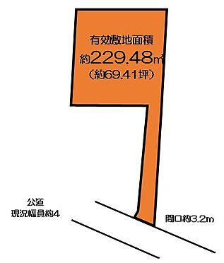 土地-西東京市柳沢5丁目 現況測量229.48平米     登記上は219.4平米となっております。