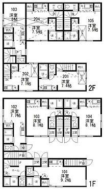 アパート-世田谷区駒沢2丁目 世田谷区 一棟売アパート 間取り図