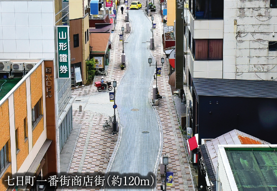 七日町一番街商店街 約120m(2017年7月撮影)