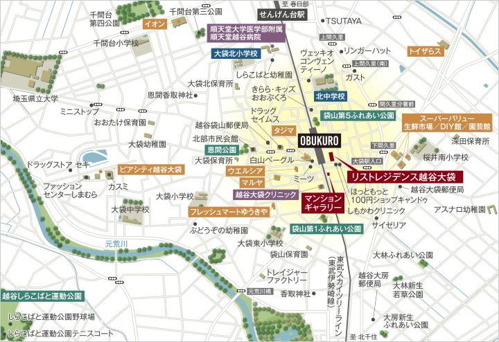 リストレジデンス越谷大袋:モデルルーム地図