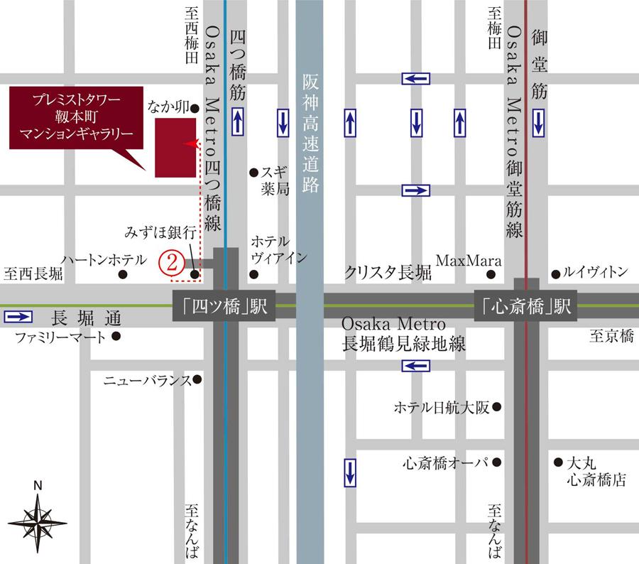 プレミストタワー靱本町:モデルルーム地図