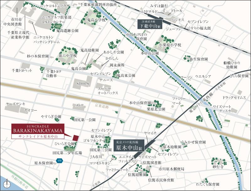 サンクレイドル原木中山:案内図