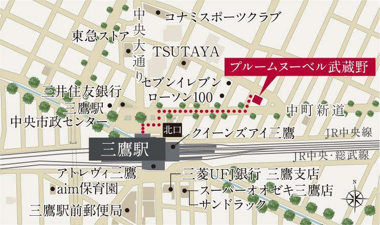 プルームヌーベル武蔵野:モデルルーム地図