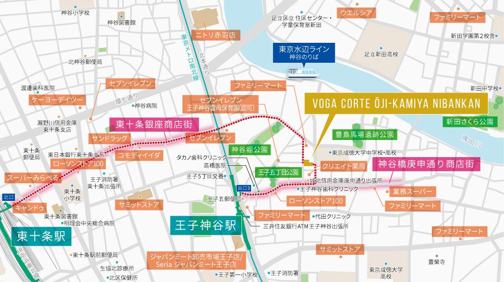 ヴォーガコルテ王子神谷弐番館:案内図