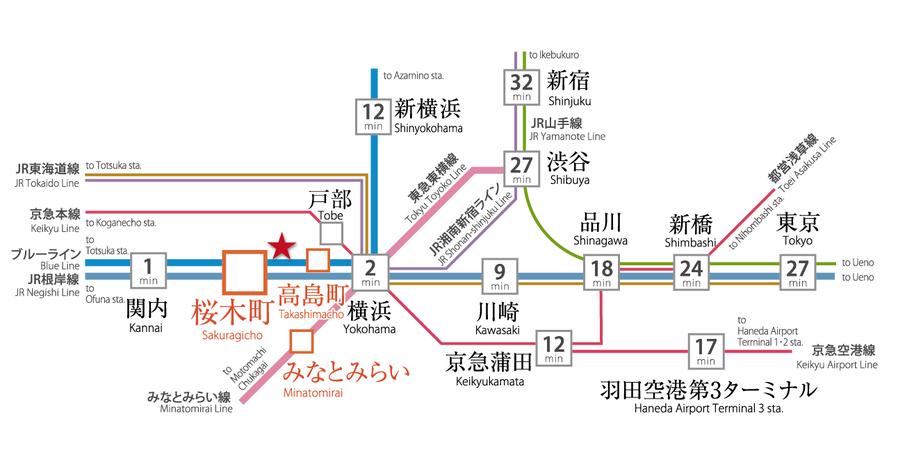 グラサージュ横濱桜木町フィオーレシエル:交通図