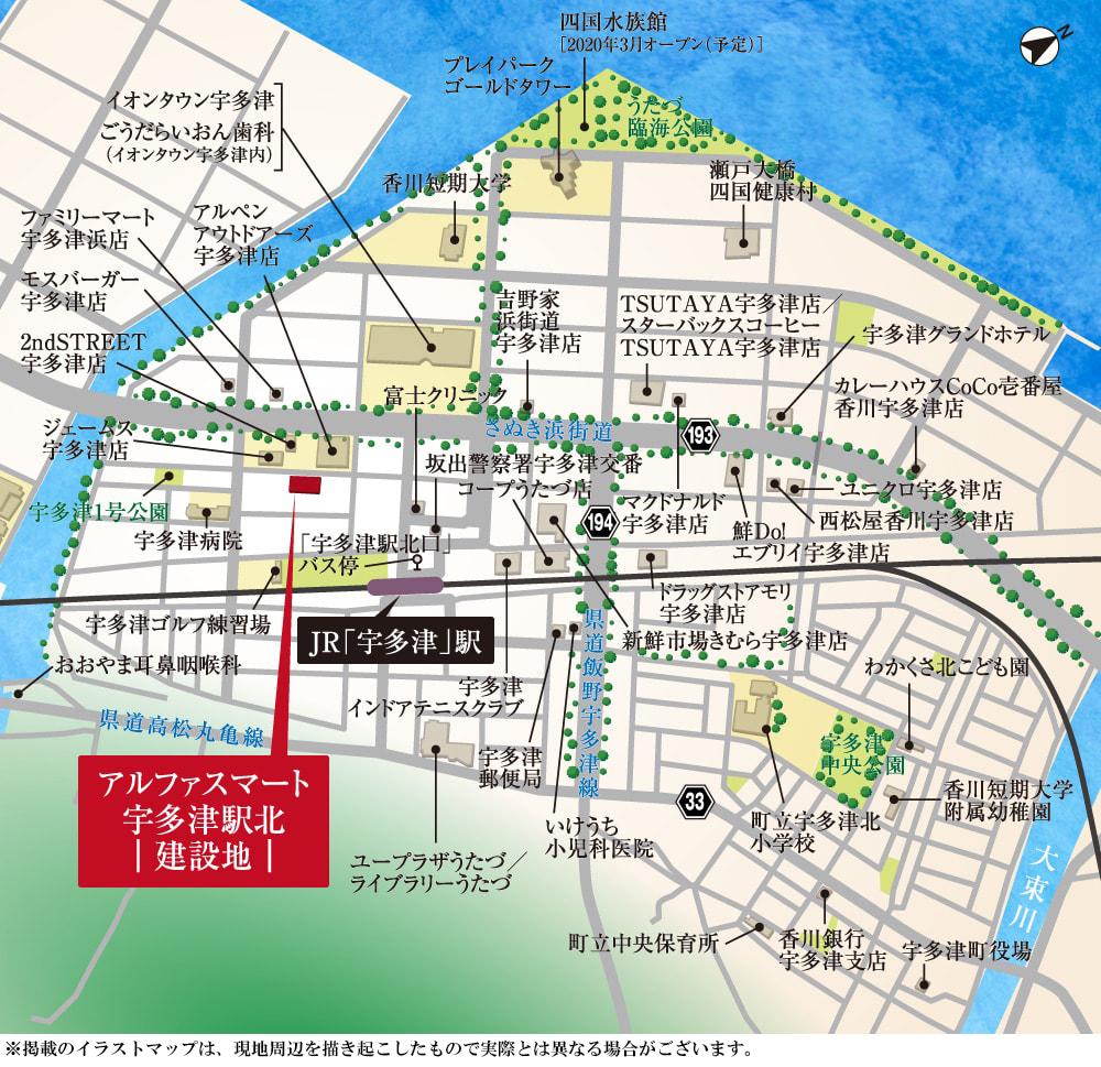 アルファスマート宇多津駅北:案内図