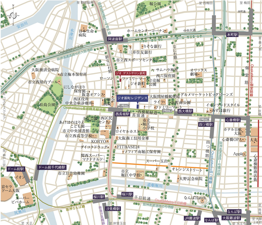 ジオ新町レジデンス:案内図