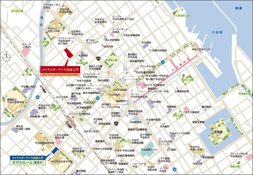 ロイヤルガーデン今治南大門:モデルルーム地図