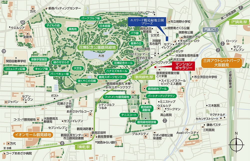 エスリード鶴見緑地公園:案内図