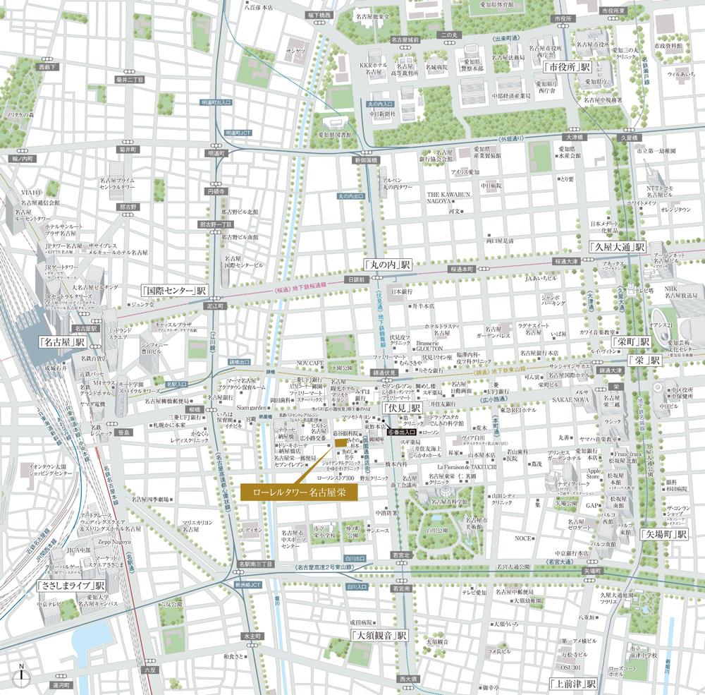ローレルタワー名古屋栄:案内図