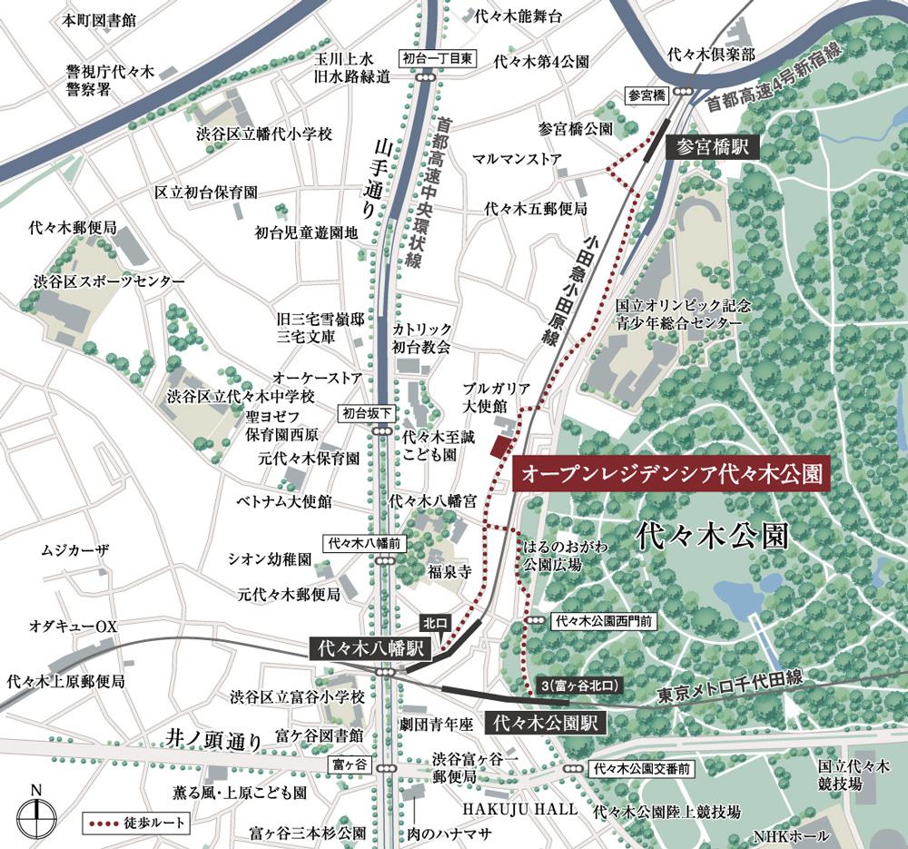 オープンレジデンシア代々木公園:案内図