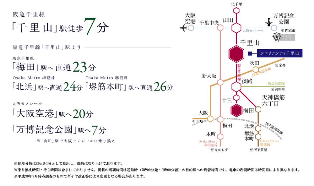 シエリアシティ千里山:交通図