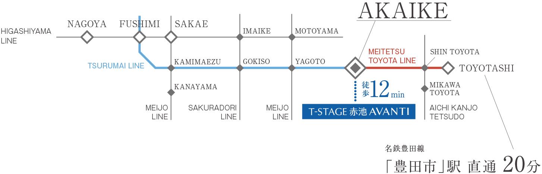 T-STAGE赤池 AVANTI:交通図