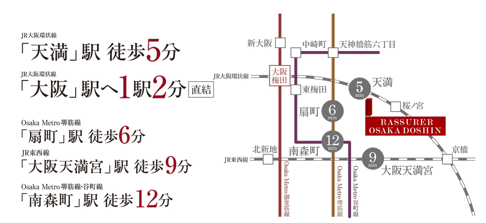 ラシュレ大阪同心:交通図