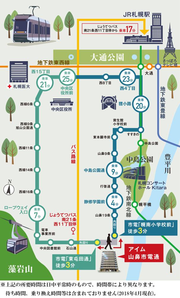 アイム山鼻市電通:交通図