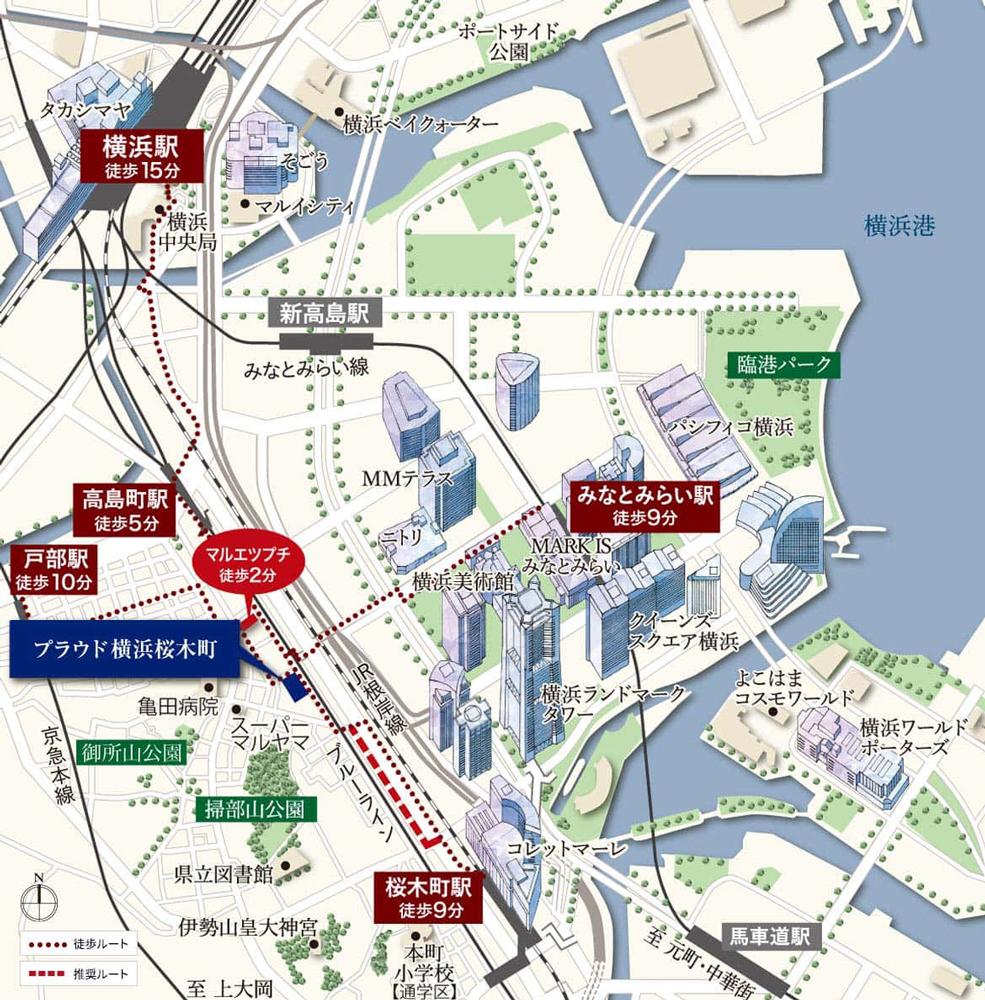 プラウド横浜桜木町:モデルルーム地図