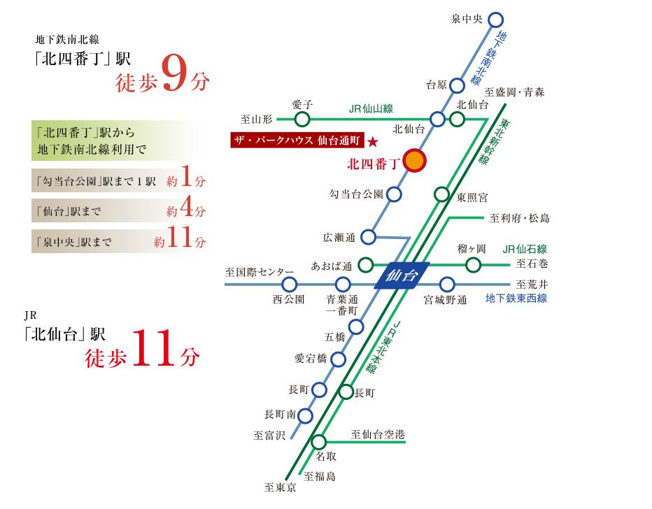 ザ・パークハウス 仙台通町:交通図