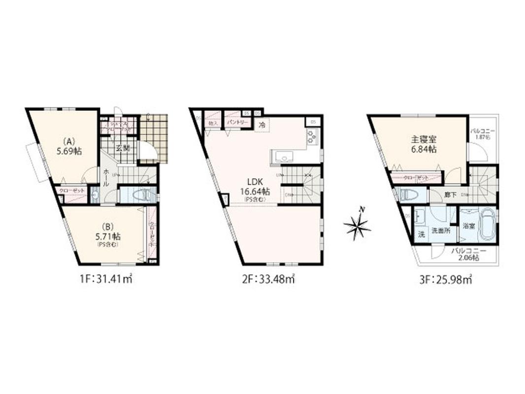 3LDK+SC+パントリー+3階に2つのバルコニー