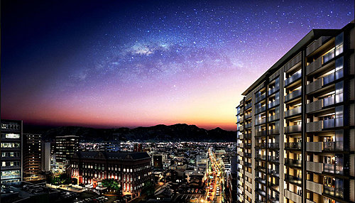 外観完成図 陽光あふれる全邸南向き、上層階からは富士山と南アルプスを望む雄大な眺望も広がります。※現地周辺の写真(2018年1月撮影)にCGを合成したもので実際とは異なります。