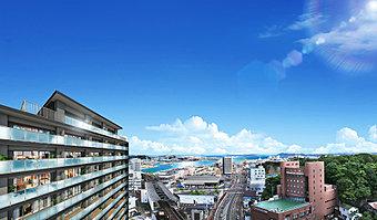 眺望合成完成予想CG 全戸南向き・14階建の爽快ビュー。(眺望写真は2016年5月撮影)