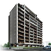選び抜かれた素材を繊細に紡ぐように描いたファサードデザイン。建物の見合いがない開放感と、2面角地ならではのランドマーク性。