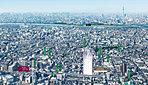 航空写真 ※掲載の航空写真は西暦2018年11月に撮影したものです、また光の柱は現地の位置を示すもので、高さ・規模を示すものではありません。