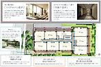 敷地配置図イラスト(住戸は2~4階の平面図)