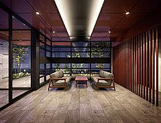 優雅な雰囲気に満ちた美空間。住まう人を迎え、訪れる人を最初にもてなす空間。床や壁面は質感ある石をバランスよく配置し、 落ち着いたイメージに。広い窓をデザイニングし、陰影のバランスに配慮しています。