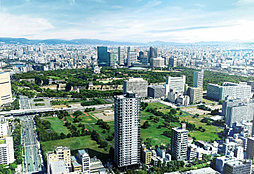 シエリア大阪上町台パークタワーの外観