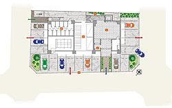 ワンフロア3邸。約7割が角住戸の独立性の高い住戸配置プラン。市街地中心でありながら、落ち着きと品質の高さを誇る邸宅仕様の数々です。【1】エントランスホール【2】宅配ロッカー【3】坪庭【4】駐車場【5】駐輪場【6】トランクルーム