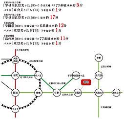 ピーコン 東登美ヶ丘6丁目(建築条件付宅地):交通図