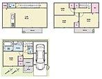 【2号地建物プラン 間取り図】 3階の洋室は、ご家族のライフプランに合わせて間取りを変えることができます。駐車場にも収納を設けたため、趣味の道具などをしまうこともできますよ。