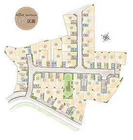 【区画図】全45区画のまとまった街。街の中心にはタウン内公園もあり、心地よい風と光が通り抜けます。