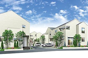 【外観】白壁が美しいシンプルな7邸の街並み