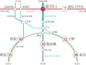 2路線利用可能で都心への通勤、ショッピングも快適アクセス。