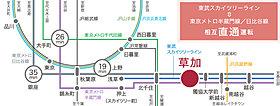 東武スカイツリーライン・急行停車「草加」駅利用。