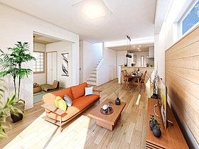 家族とほどよい距離を保ち趣味や仕事のできる空間を設えた家