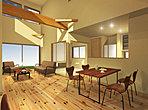 [完成イメージ図] 健康住宅「きれいな空気の家」。耐震・制振システム導入で震度7クラスの地震による建物の揺れを最大50%抑えます。
