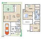 13号地オープンハウス 南向き。各お部屋6帖以上で、洗面室も2階にあるので、お洗濯物の動線もスムーズな設計。