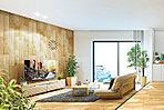 横幅2.6M、高さ2.4Mのハイサッシ、明るい陽光を導き、室内に開放感を与えます