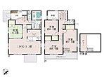 【5号棟】日当たりがよく、人目も気にならない2階リビング。LDKはゆとりの18.125帖。人気の対面式キッチン。水廻りを集約させた機能的な家事動線。ロフト・ウォークインクローゼット3ヵ所設置。