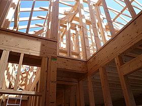 ■2×4工法は床、壁、天井の6面体でモノコック構造
