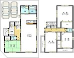 ■1号地プラン 土地33坪の角地。全室が広々6帖以上で、ゆとりの生活をお楽しみいただけます。