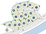 区画図。全15区画の大型分譲地。子育て世代が集まるファミリータウン誕生!