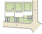 区画図 全棟70坪以上でお車2台並列駐車可能