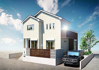 イメージ施工例 邸宅感を醸し出す切妻屋根と白をベースにした壁面が調和。さらに石目黒のサイディングがアクセントを添えてます。そして、青い空にスタイリッシュなシルエットがここで暮らす期待感を広げてます。